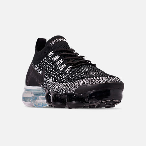 76c50d5b0934 Three Quarter view of Men s Nike Air VaporMax Flyknit 2 Running Shoes in  Black Black