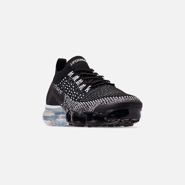 c0cb96dfd9f Three Quarter view of Men s Nike Air VaporMax Flyknit 2 Running Shoes in  Black Black