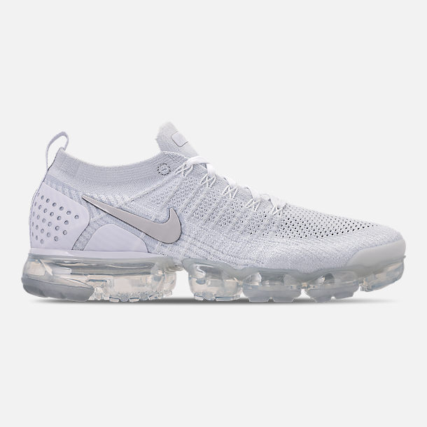 Right view of Men's Nike Air VaporMax Flyknit 2 Running Shoes in White/Vast Grey/Football Grey