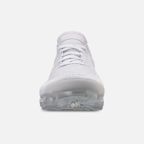 Front view of Men's Nike Air VaporMax Flyknit 2 Running Shoes in White/Vast Grey/Football Grey