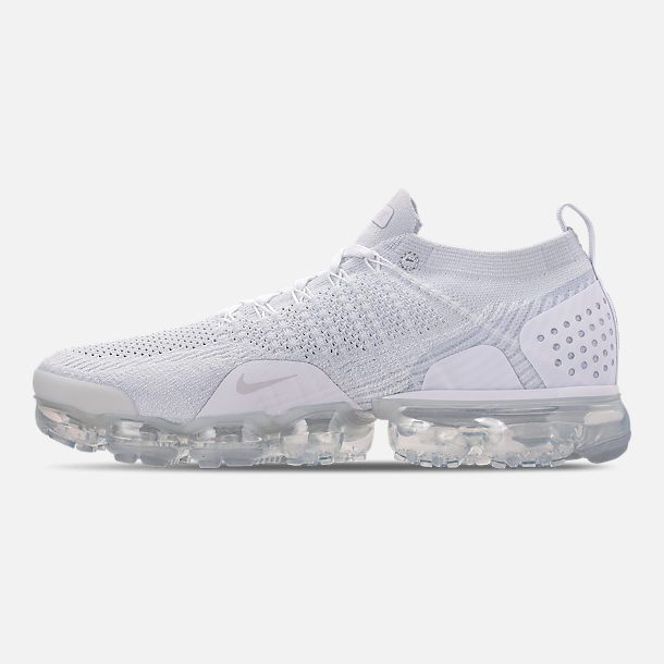 Left view of Men's Nike Air VaporMax Flyknit 2 Running Shoes in White/Vast Grey/Football Grey