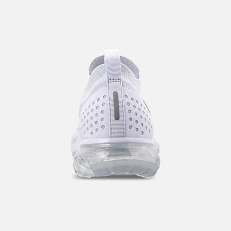 Back view of Men's Nike Air VaporMax Flyknit 2 Running Shoes in White/Vast Grey/Football Grey