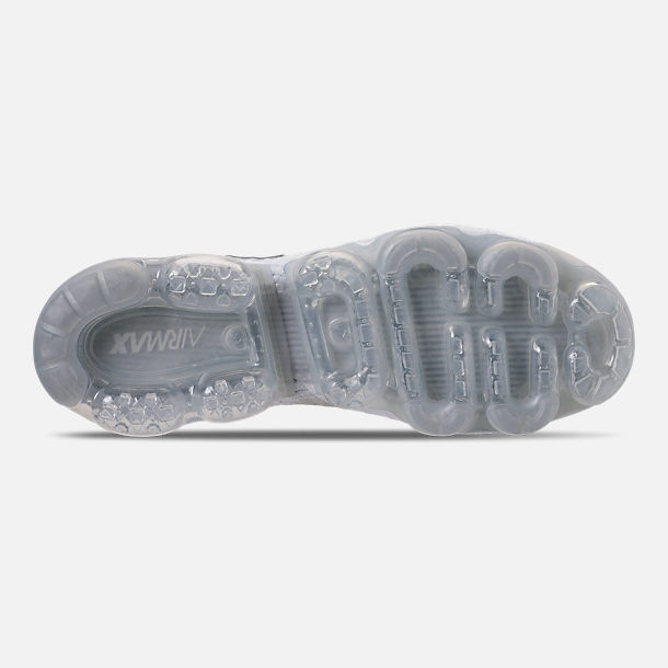 Bottom view of Men's Nike Air VaporMax Flyknit 2 Running Shoes in White/Vast Grey/Football Grey