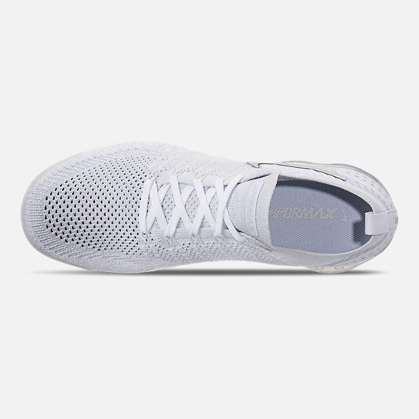 Top view of Men's Nike Air VaporMax Flyknit 2 Running Shoes in White/Vast Grey/Football Grey