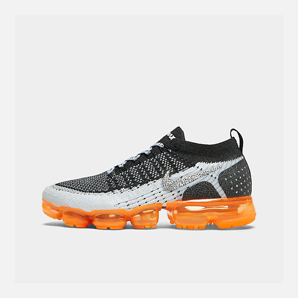 Right view of Men's Nike Air VaporMax Flyknit 2 Running Shoes in White/White/Black/Total Orange/Wolf Grey