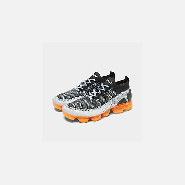 Three Quarter view of Men's Nike Air VaporMax Flyknit 2 Running Shoes in White/White/Black/Total Orange/Wolf Grey