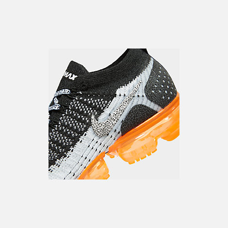 Front view of Men's Nike Air VaporMax Flyknit 2 Running Shoes in White/White/Black/Total Orange/Wolf Grey