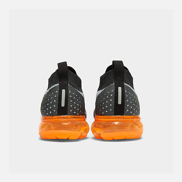 Left view of Men's Nike Air VaporMax Flyknit 2 Running Shoes in White/White/Black/Total Orange/Wolf Grey