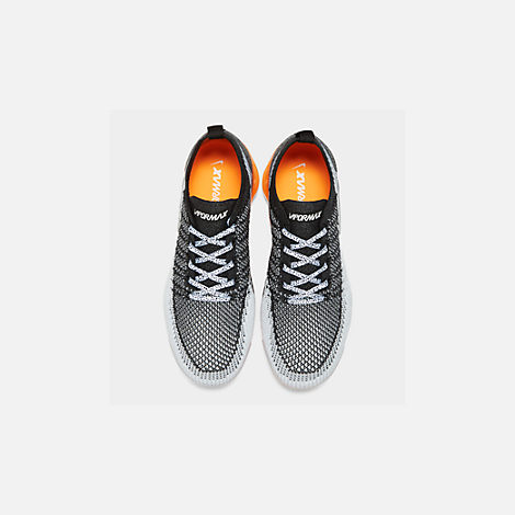 Back view of Men's Nike Air VaporMax Flyknit 2 Running Shoes in White/White/Black/Total Orange/Wolf Grey