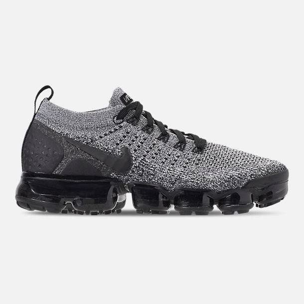 Right view of Men's Nike Air VaporMax Flyknit 2 Running Shoes in White/Black/Black