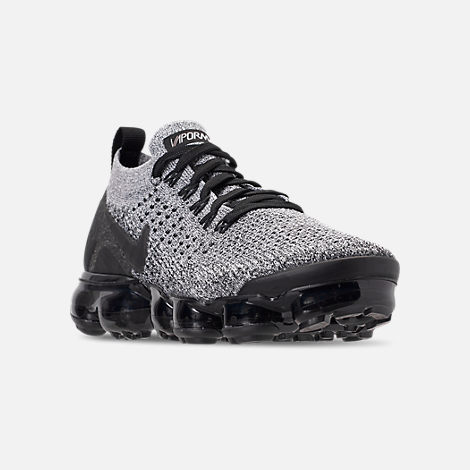 Three Quarter view of Men's Nike Air VaporMax Flyknit 2 Running Shoes in White/Black/Black