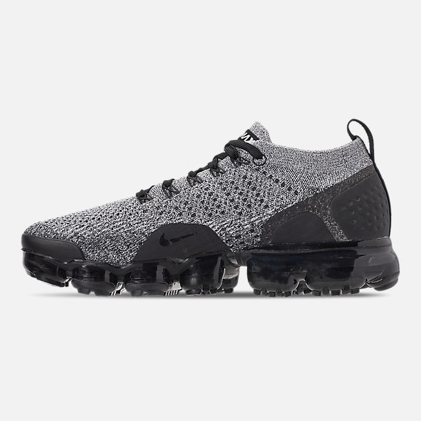 Left view of Men's Nike Air VaporMax Flyknit 2 Running Shoes in White/Black/Black