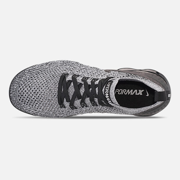 Top view of Men's Nike Air VaporMax Flyknit 2 Running Shoes in White/Black/Black