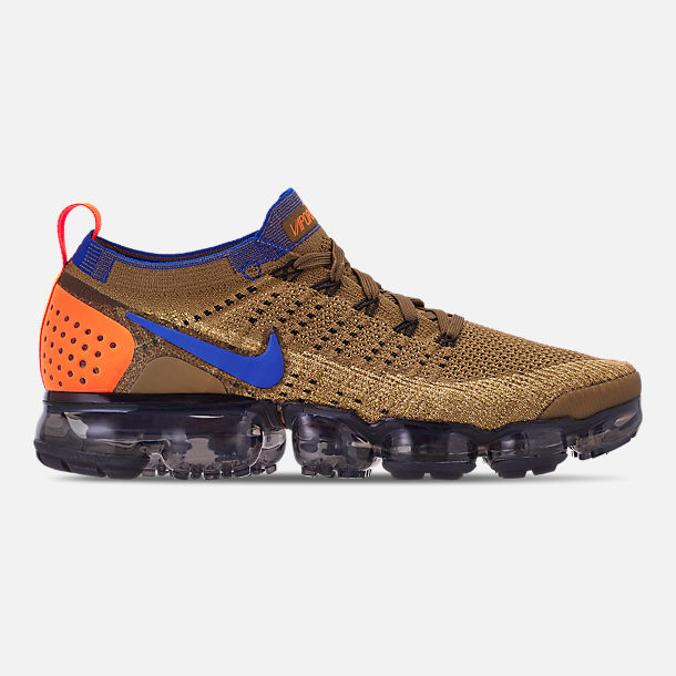 Right view of Men's Nike Air VaporMax Flyknit 2 Running Shoes in Golden Beige/Racer Blue/Club Gold