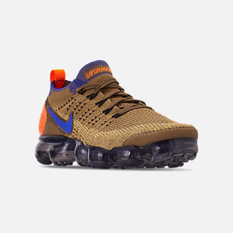Three Quarter view of Men's Nike Air VaporMax Flyknit 2 Running Shoes in Golden Beige/Racer Blue/Club Gold