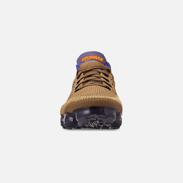 Front view of Men's Nike Air VaporMax Flyknit 2 Running Shoes in Golden Beige/Racer Blue/Club Gold