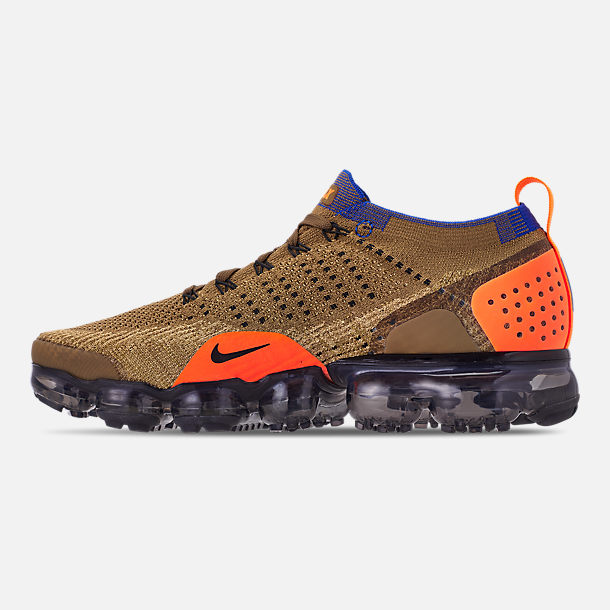 Left view of Men's Nike Air VaporMax Flyknit 2 Running Shoes in Golden Beige/Racer Blue/Club Gold