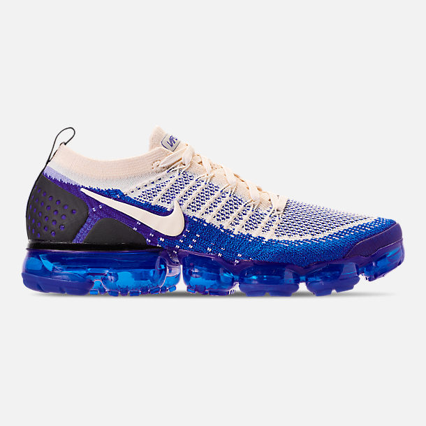 Right view of Men's Nike Air VaporMax Flyknit 2 Running Shoes in Light Cream/White/Racer Blue