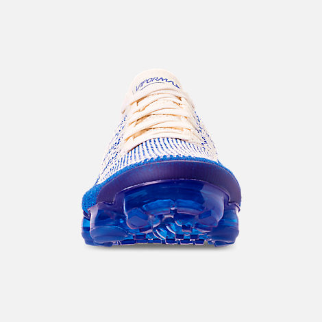 Front view of Men's Nike Air VaporMax Flyknit 2 Running Shoes in Light Cream/White/Racer Blue