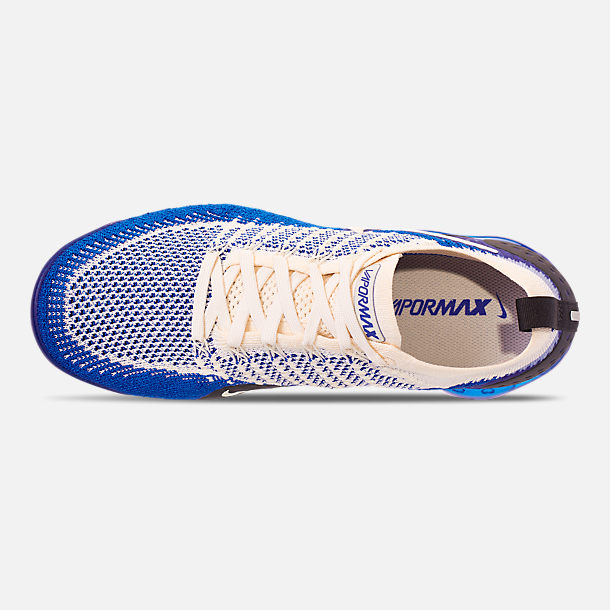 Top view of Men's Nike Air VaporMax Flyknit 2 Running Shoes in Light Cream/White/Racer Blue