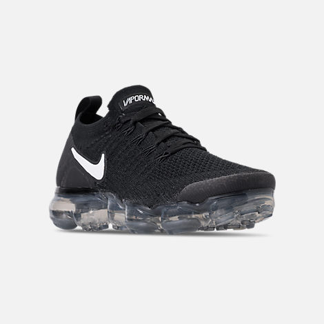 Three Quarter view of Women's Nike Air VaporMax Flyknit 2 Running Shoes in Black/White/Dark Grey/Metallic Silver