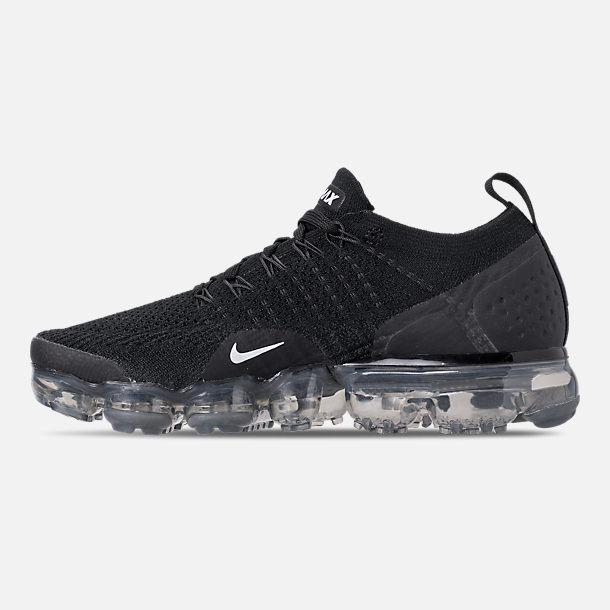 Left view of Women's Nike Air VaporMax Flyknit 2 Running Shoes in Black/White/Dark Grey/Metallic Silver