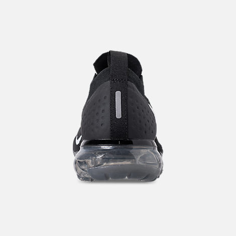 Back view of Women's Nike Air VaporMax Flyknit 2 Running Shoes in Black/White/Dark Grey/Metallic Silver