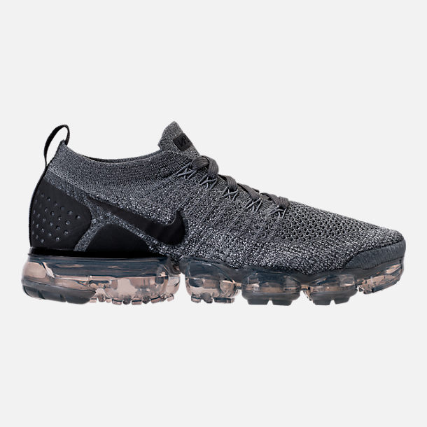 Right view of Women's Nike Air VaporMax Flyknit 2 Running Shoes in Dark Grey/White/Wolf Grey/Black