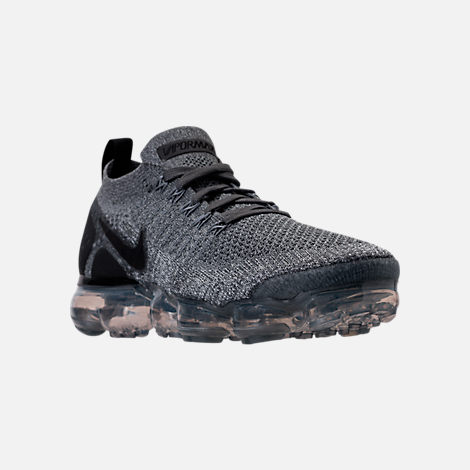 Three Quarter view of Women's Nike Air VaporMax Flyknit 2 Running Shoes in Dark Grey/White/Wolf Grey/Black
