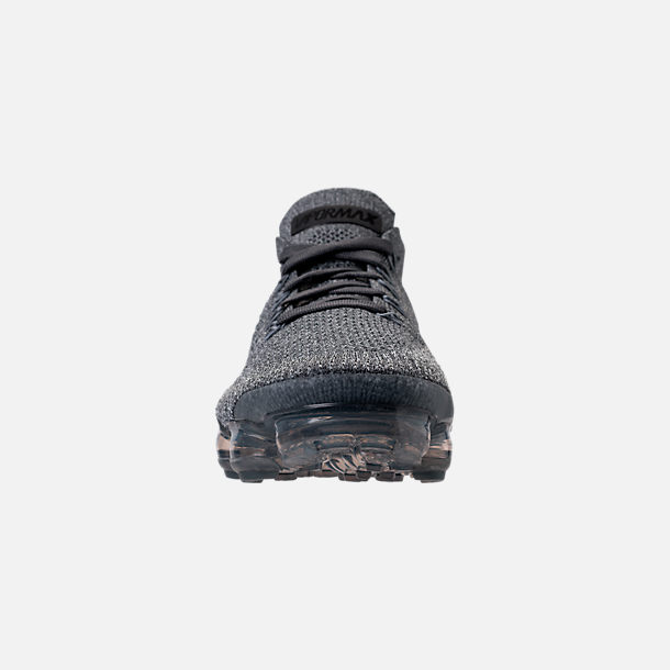 Front view of Women's Nike Air VaporMax Flyknit 2 Running Shoes in Dark Grey/White/Wolf Grey/Black