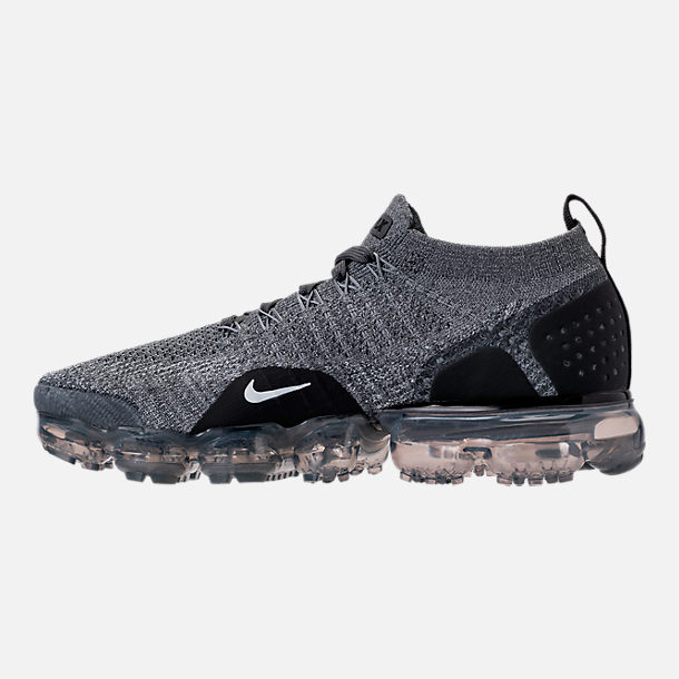Left view of Women's Nike Air VaporMax Flyknit 2 Running Shoes in Dark Grey/White/Wolf Grey/Black