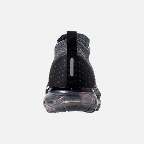 Back view of Women's Nike Air VaporMax Flyknit 2 Running Shoes in Dark Grey/White/Wolf Grey/Black