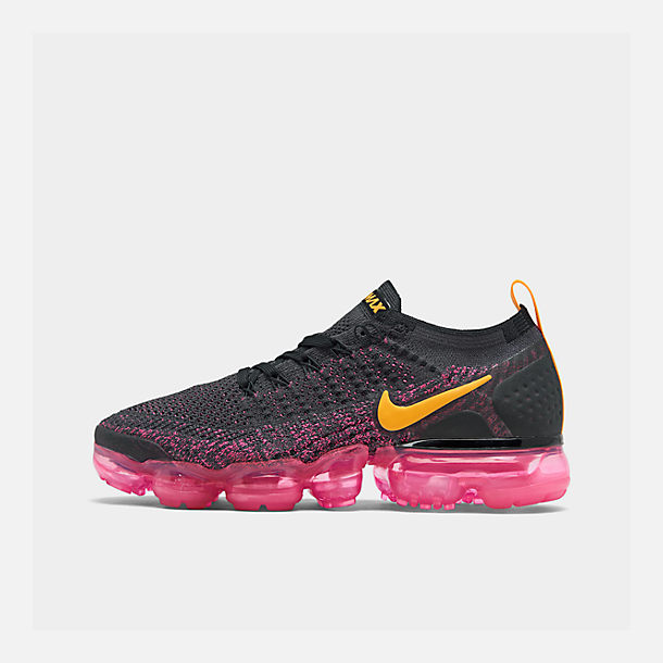 Right view of Women's Nike Air VaporMax Flyknit 2 Running Shoes in Gridiron/Laser Orange/Pink Blast/Black