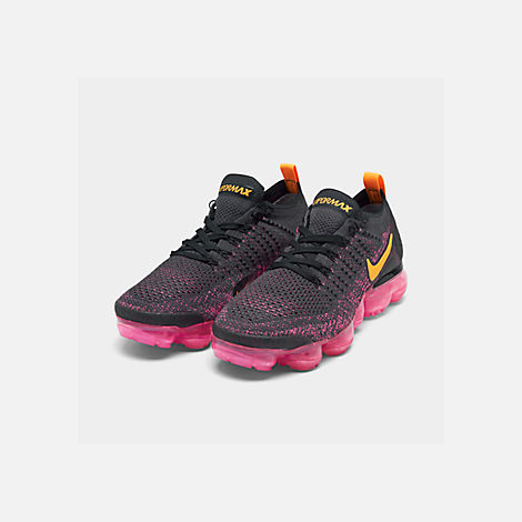 447a5f81f2f06 Three Quarter view of Women s Nike Air VaporMax Flyknit 2 Running Shoes in  Gridiron Laser