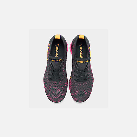 f70f204d83e579 Back view of Women s Nike Air VaporMax Flyknit 2 Running Shoes in Gridiron Laser  Orange