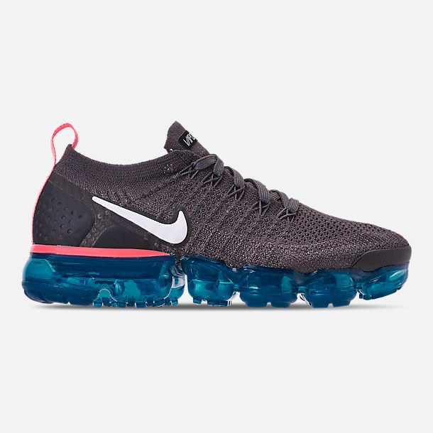 Right view of Women's Nike Air VaporMax Flyknit 2 Running Shoes in Thunder Grey/White/Geode Teal/Black