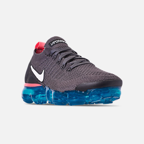 Three Quarter view of Women's Nike Air VaporMax Flyknit 2 Running Shoes in Thunder Grey/White/Geode Teal/Black