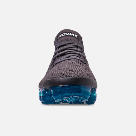 Front view of Women's Nike Air VaporMax Flyknit 2 Running Shoes in Thunder Grey/White/Geode Teal/Black