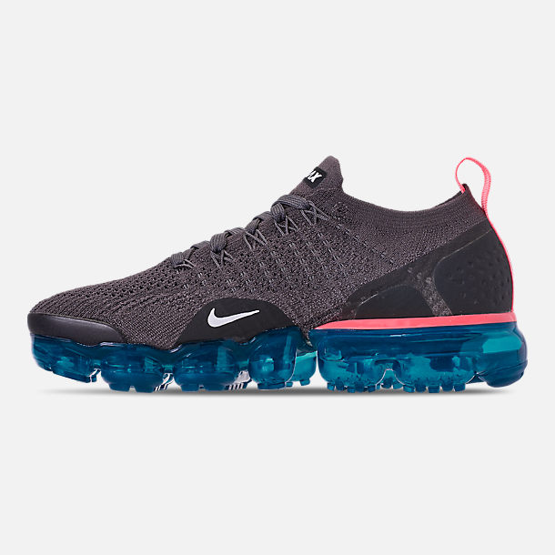Left view of Women's Nike Air VaporMax Flyknit 2 Running Shoes in Thunder Grey/White/Geode Teal/Black