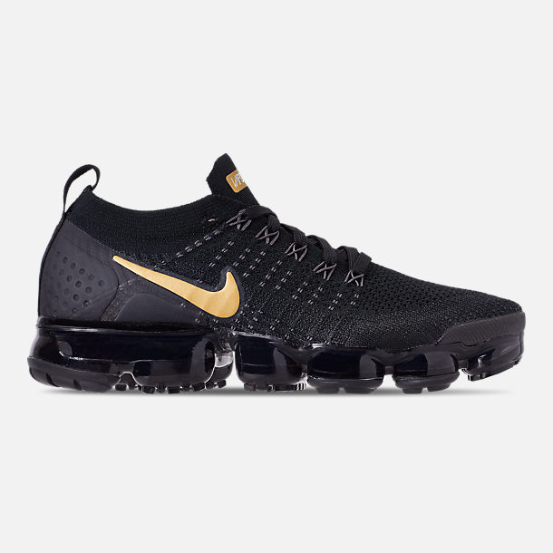 Right view of Women's Nike Air VaporMax Flyknit 2 Running Shoes in Black/Metallic Gold/Metallic Platinum