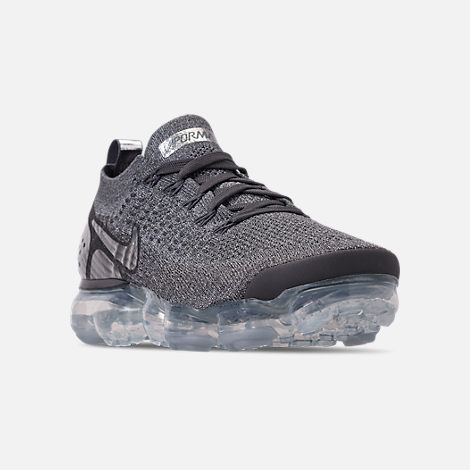 Three Quarter view of Women's Nike Air VaporMax Flyknit 2 Running Shoes in Atmosphere Grey/Multicolor/Gunsmoke