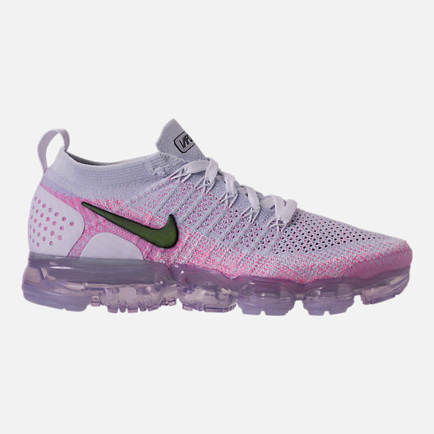 Right view of Women's Nike Air VaporMax Flyknit 2 Running Shoes in White/Black/Hydrogen Blue/Pink Beam