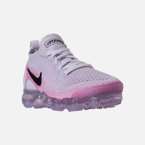 Three Quarter view of Women's Nike Air VaporMax Flyknit 2 Running Shoes in White/Black/Hydrogen Blue/Pink Beam