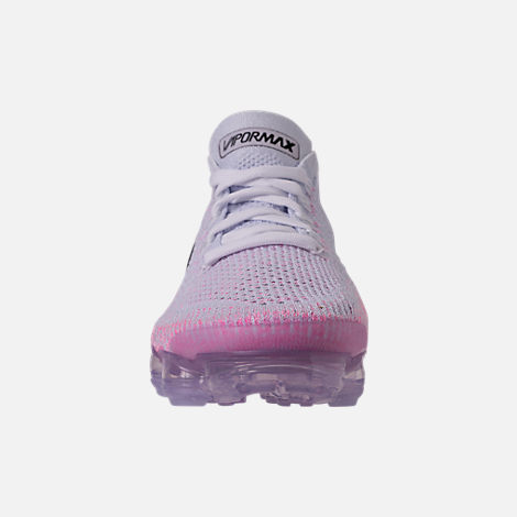 Front view of Women's Nike Air VaporMax Flyknit 2 Running Shoes in White/Black/Hydrogen Blue/Pink Beam