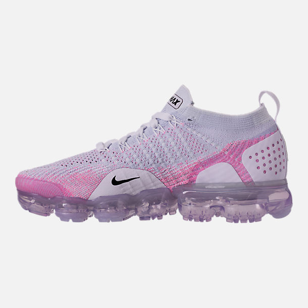 Left view of Women's Nike Air VaporMax Flyknit 2 Running Shoes in White/Black/Hydrogen Blue/Pink Beam