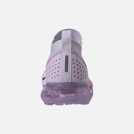 Back view of Women's Nike Air VaporMax Flyknit 2 Running Shoes in White/Black/Hydrogen Blue/Pink Beam