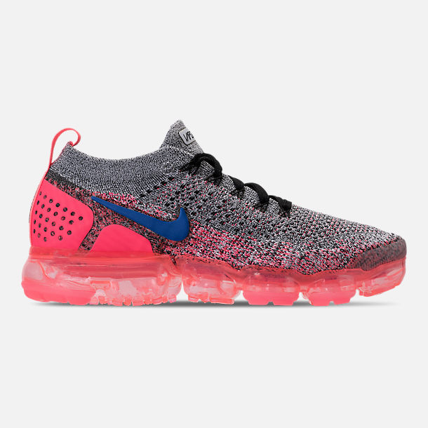 Right view of Women's Nike Air VaporMax Flyknit 2 Running Shoes in White/Ultramarine/Metallic Silver