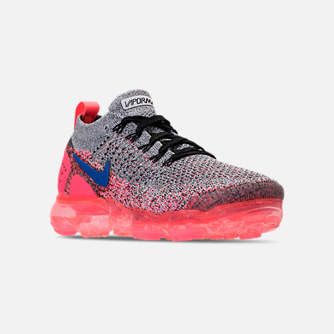 Three Quarter view of Women's Nike Air VaporMax Flyknit 2 Running Shoes in White/Ultramarine/Metallic Silver