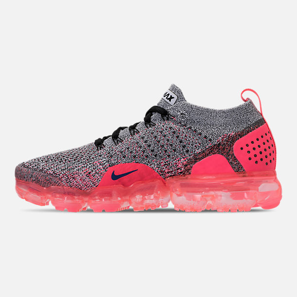 Left view of Women's Nike Air VaporMax Flyknit 2 Running Shoes in White/Ultramarine/Metallic Silver