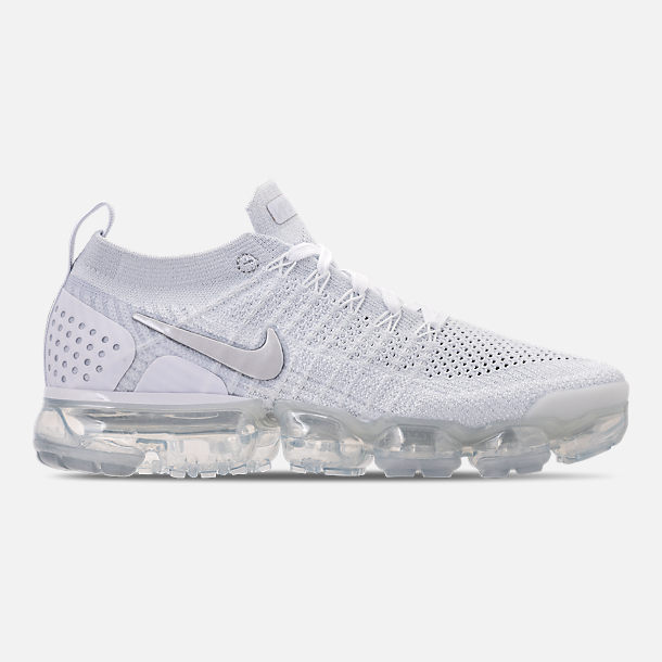 Right view of Women's Nike Air VaporMax Flyknit 2 Running Shoes in White/Vast Grey/Football Grey